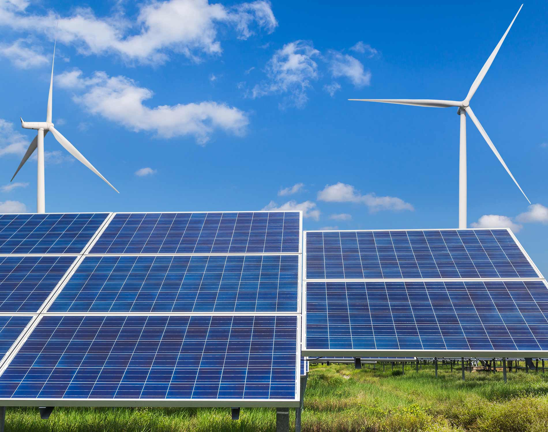 Wind turbines and solar panels